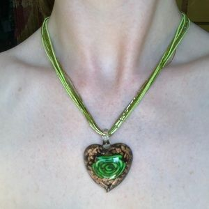 Jewelry - Glittery Heart Shaped Necklace with Rose Detail